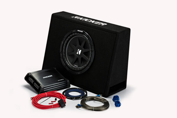 44KKP210 – 10″ Slim Enclosure + Amp + Wiring Kit • 44KP210